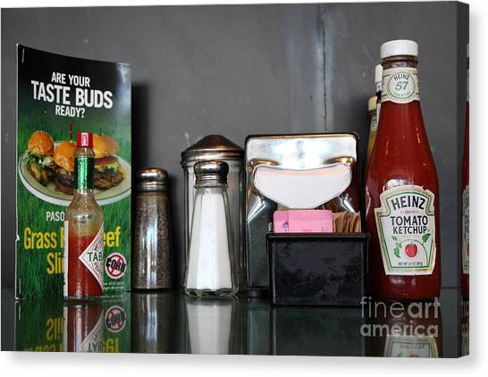 Diner Table Condiments And Other Items - 5d18035 Canvas Print by Wingsdomain Art and Photography