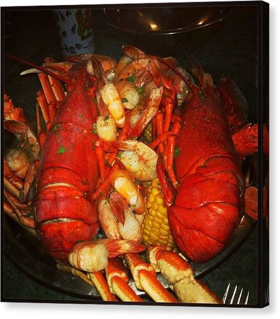 Lobster Canvas Print - #dinner At The Crazy Lobster In New by Anne Simon