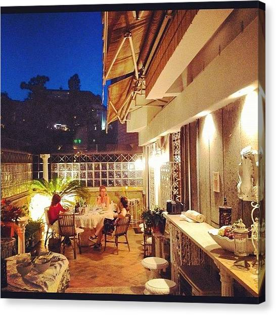 Rome Canvas Print - Dinner With Friends On The Terrace by L. Chris Curry