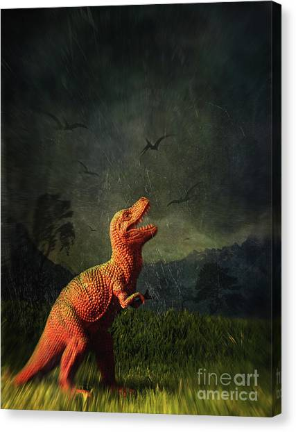Life-threatening Canvas Print - Dinosaur Toy Figure In Surreal Landscape by Sandra Cunningham