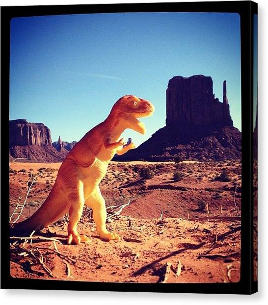 Indian Canvas Print - Dinosaure At Monument Valley by Isabel Poulin