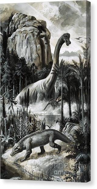 Dinosaurs Canvas Print - Dinosaurs by Roger Payne