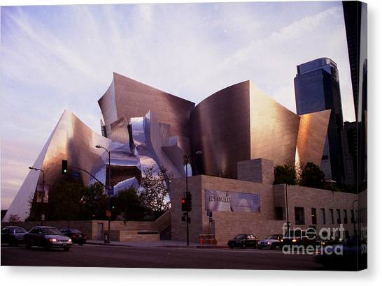 Disney Hall Western View Canvas Print by Ron Javorsky