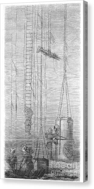 Diving Bell Canvas Print - Divers, 1870 by Granger