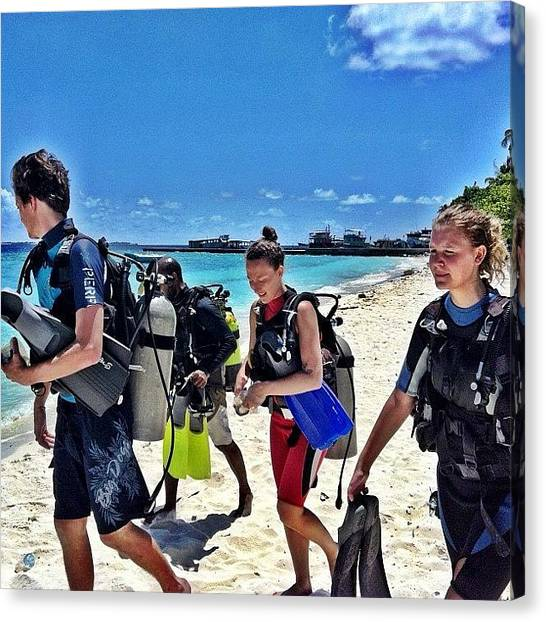 Scuba Diving Canvas Print - Divers Ahoy! #maldives #iphoneography by Abid Saeed