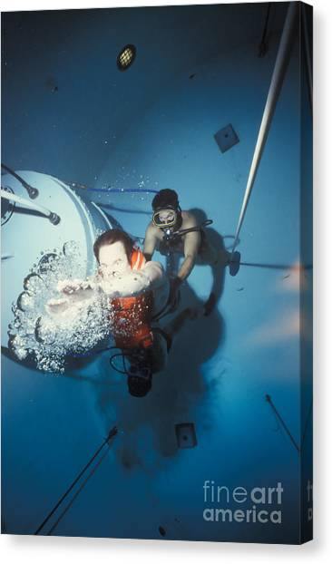 Diving Bell Canvas Print - Diving Bell Instructor Releases Control by Michael Wood