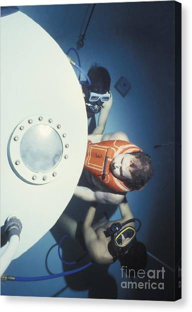 Diving Bell Canvas Print - Diving Bell Instructors Hold by Michael Wood