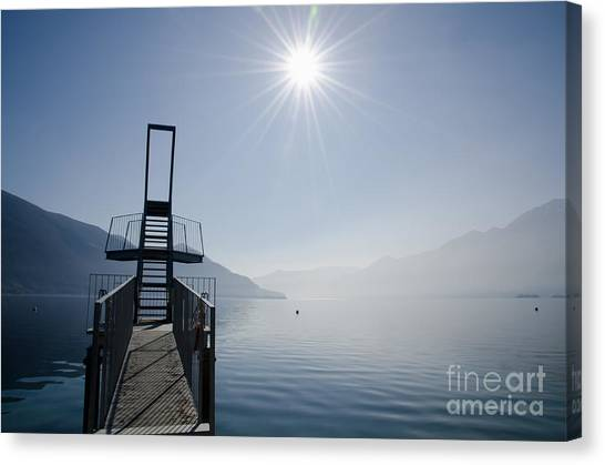 Trampoline Canvas Print - Diving Board by Mats Silvan