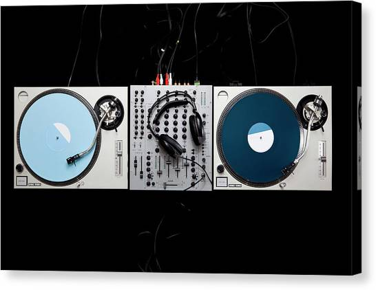 Headphones Canvas Print - Dj Equipment by Caspar Benson