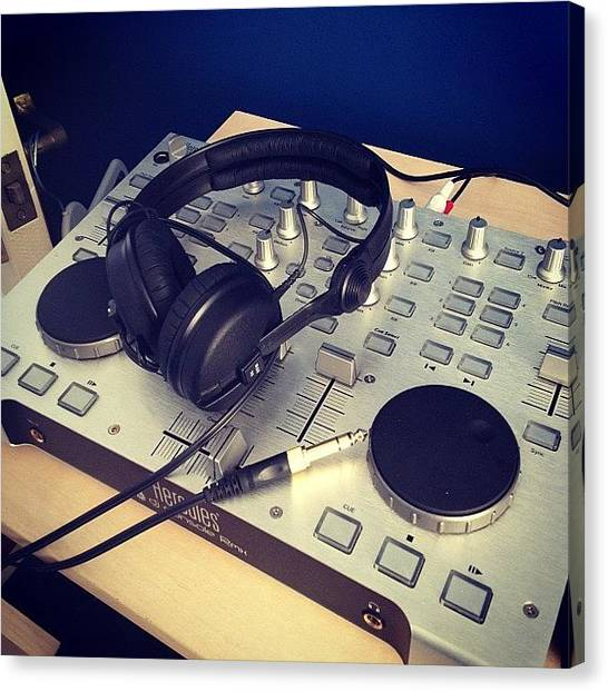 Headphones Canvas Print - DJ by Matt Canning