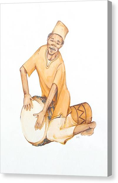 Djembe Canvas Print - Djembe Player by Michael Zonneveld