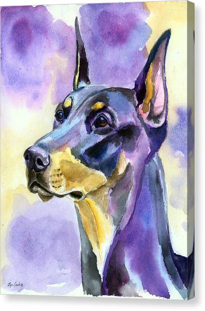 Doberman Pinschers Canvas Print - Dobie Mood Indigo by Lyn Cook