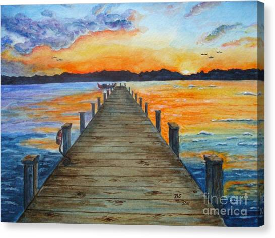 Dock Of The Bay Canvas Print by Bonnie Schallermeir