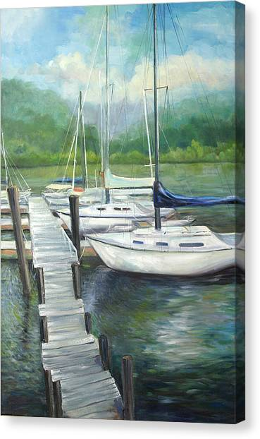Dock Side Canvas Print by Max Mckenzie