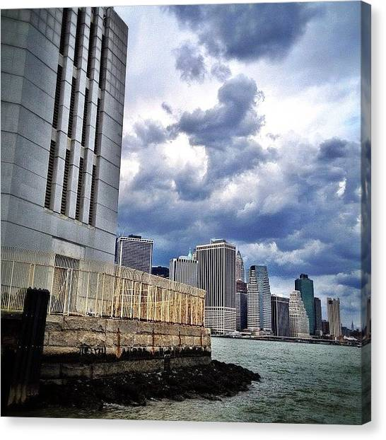 Skyscrapers Canvas Print - Dock View Of Nyc by Natasha Marco