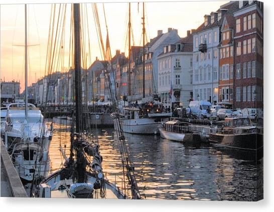 Docked For Dinner Canvas Print by