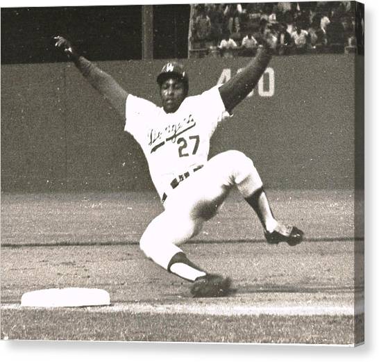 Dodger Willie Crawford Sliding Into Third Canvas Print