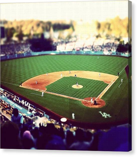 Bat Canvas Print - #dodgertown by David Leandro