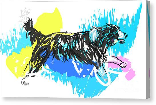 Dog Running In Water Canvas Print
