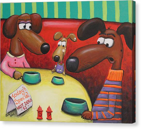 Doggie Diner Canvas Print by Jennifer Alvarez