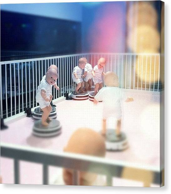 Installation Art Canvas Print - #dolls #surfing On #robotic #vacuum by Stoeps Meyer