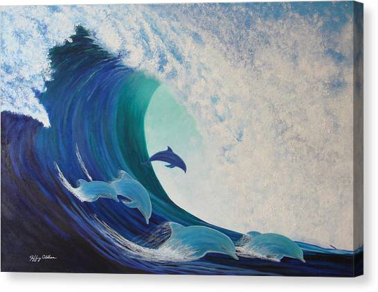 Dolphin Wave Canvas Print by Jeffrey Oldham