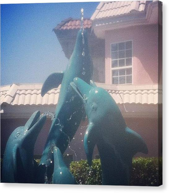 Dolphins Canvas Print - #dolphins #fountain #igers #instamood by Mikal Britt