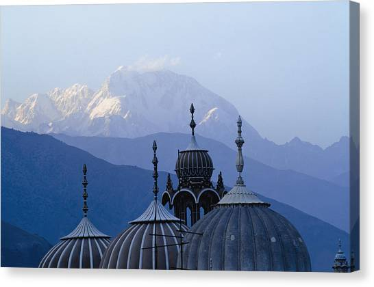 Hindu Kush Canvas Print - Domes Of Chitral Mosque With Trich Mir by Axiom Photographic