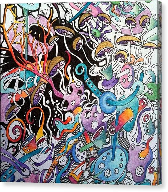 Papers Canvas Print - Doodle Run Amok by Lisa Catherwood