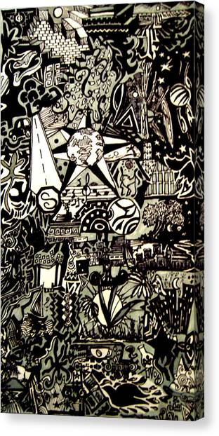 Doodles Black And White Canvas Print by MikAn 'sArt