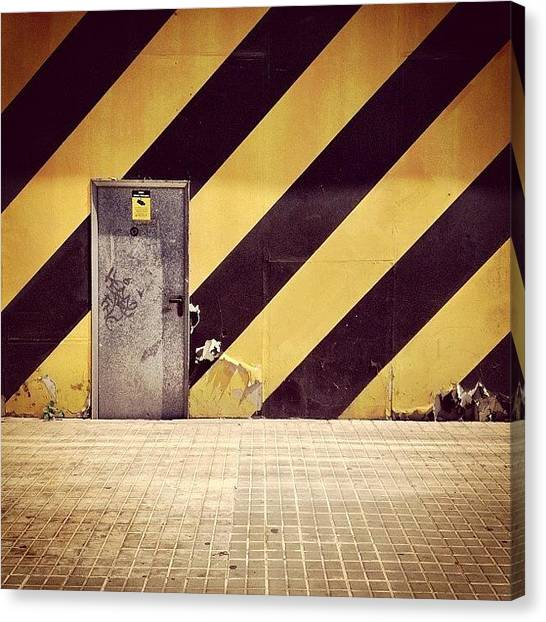 Metallic Canvas Print - Door And Yellow-black Stripes by Jordi Codina