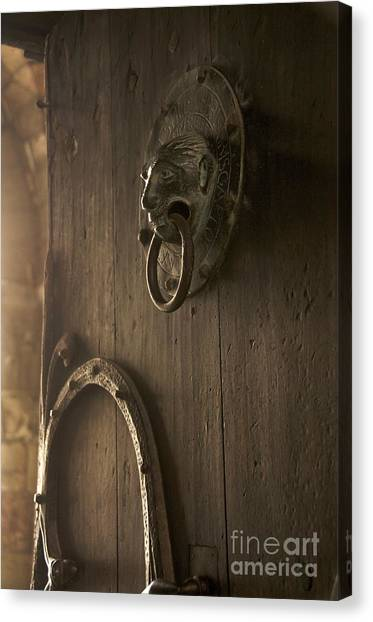 Romanesque Art Canvas Print - Door Knocker Of The Basilica Saint-julien. Brioude. Haute Loire. Auvergne. France. by Bernard Jaubert
