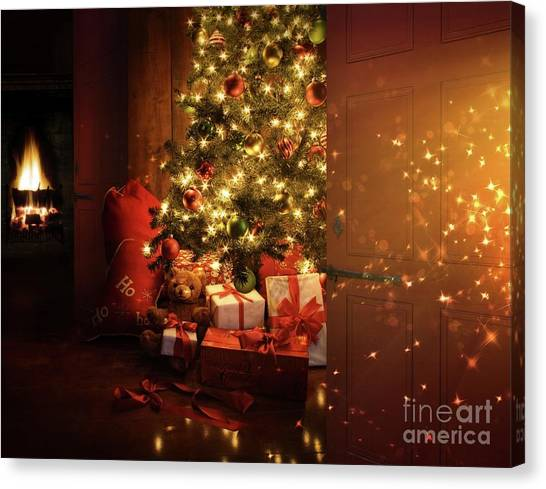 Fire Ball Canvas Print - Door Opening Onto Nostalgic Christmas Scene   by Sandra Cunningham