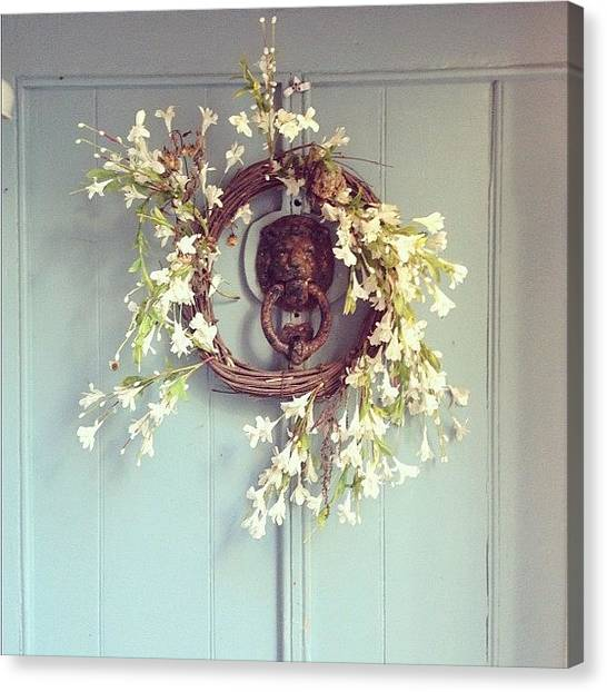 Wreath Canvas Print - #door #wreath #kingsand #rame #cornwall by Joe Trethewey