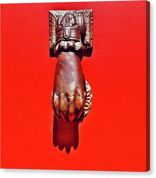 Red Canvas Print - Doorknocker by Julie Gebhardt