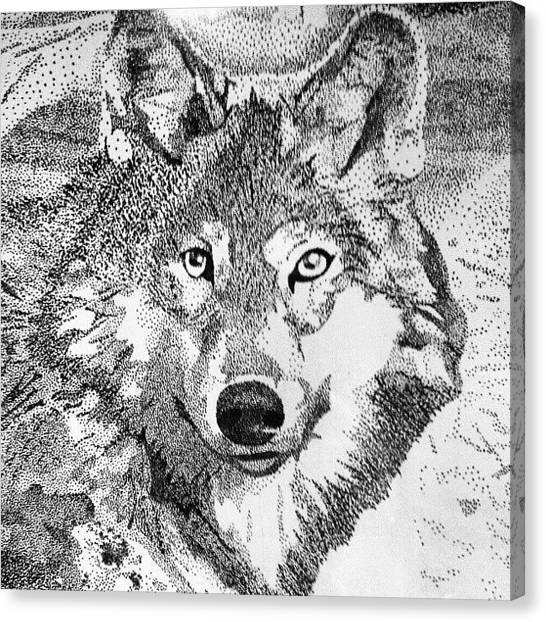 Wolves Canvas Print - Dot Drawing Of A Wolf I Did Back In 8th by Kelsi Doerrer