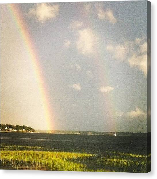 Head Canvas Print - Double Rainbow.  by Lea Ward