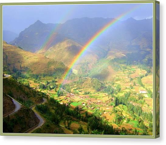 Double Rainbow Canvas Print by Satya Winkelman