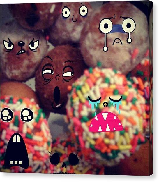 Doughnuts Canvas Print - #doughnuts #please #dont #eat #me by Mary  Hudgensrobles