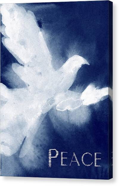 Christmas Art Canvas Print - Dove Peace Holiday Card by Beverly Brown Prints