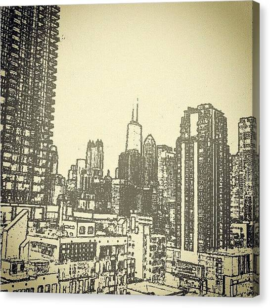 Pastel Canvas Print - Downtown Chi-town by Jeff Fagan