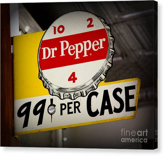Dr. Pepper Canvas Print - Dr Pepper Sign by Gayle Johnson