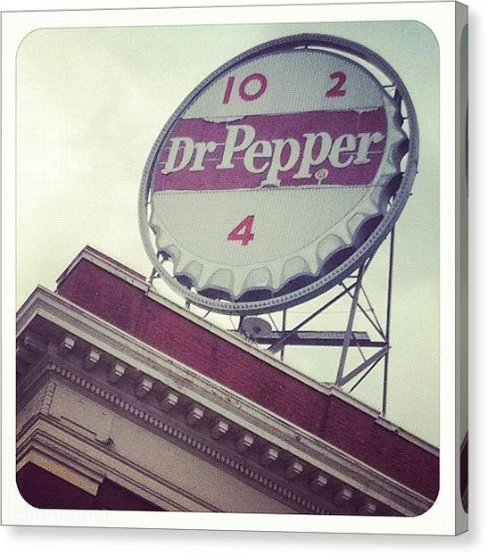 Pepper Canvas Print - Dr. Pepper Sign by Kendra Portnova