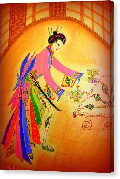 Dragon-geisha Canvas Print