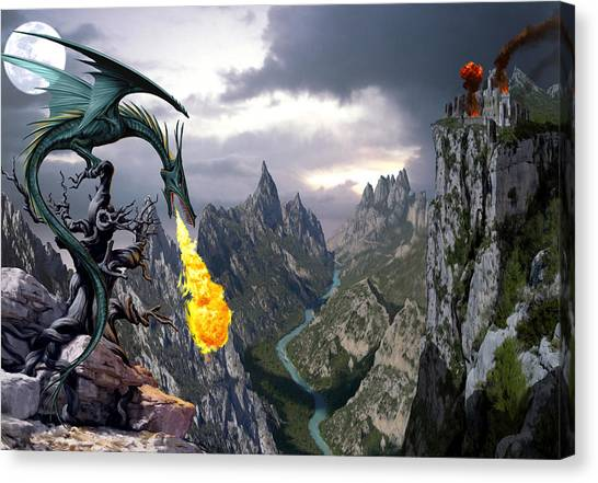 Dragon Canvas Print - Dragon Valley by The Dragon Chronicles - Garry Wa