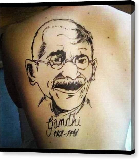 Back Canvas Print - #drawing #ghandi #20likes #tattoo #tat by The Fun Enthusiast