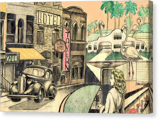 Classic Car Drawings Canvas Print - Dream by Mel Thompson