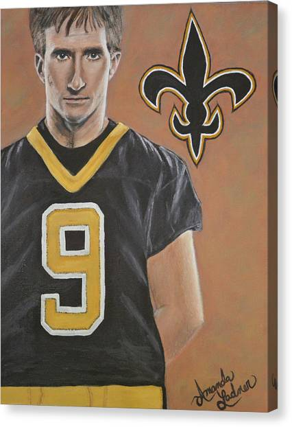 Drew Brees Canvas Print - Drew Brees by Amanda Ladner
