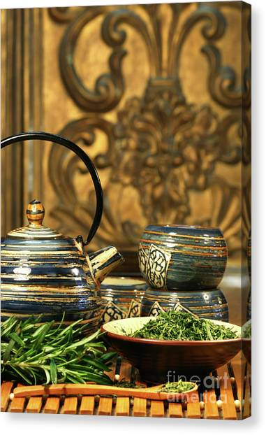 Sweet Tea Canvas Print - Dries Herb Leaves  by Sandra Cunningham