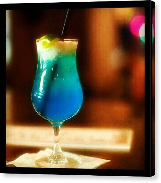 Rum Canvas Print - Drink Of The Day...blue Lagoon. #vodka by Mary Carter